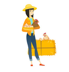 farmer holding chicken and basket of eggs vector image