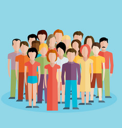 flat of society members with a large group of men vector image