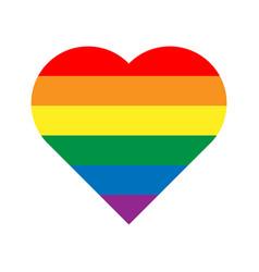 Lgbt rainbow pride flag in a shape of heart vector