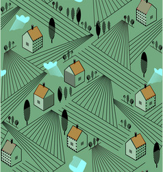 rural landscape with houses and agriculture fields vector image