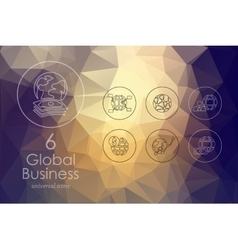 Set of global business icons vector image