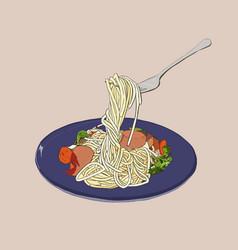 Spaghetti hand drawn sketch vector