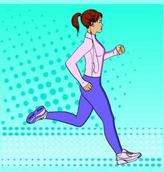 sport girl jogging pop art retro vector image