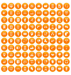 100 call center icons set orange vector