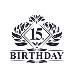 15 years birthday logo luxury 15th birthday vector
