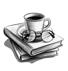 a cup tea and glasses on stack books vector image