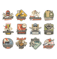 baseball ball bat player and trophy sport icons vector image