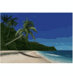 Beach and palm trees vector