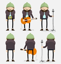 Bearded musician with green hat vector