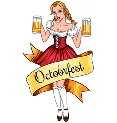 Beer girl octoberfest vector