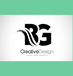 Bg b g creative brush black letters design with vector