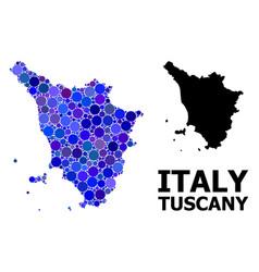 blue round dot mosaic map tuscany region vector image