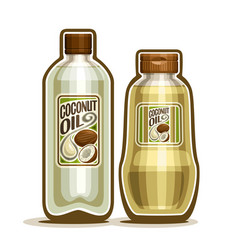 Bottles with coconut oil vector