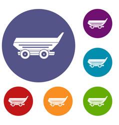 Car trailer icons set vector