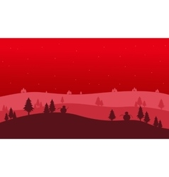 Christmas backgrounds hill of silhouettes vector
