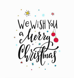 christmas new year lettering typography vector image