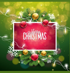 christmas on green background with vector image
