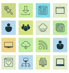 connection icons set with virtual network user vector image