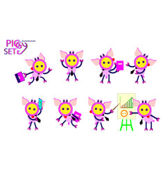 cute business piglets cartoon set office posing vector image