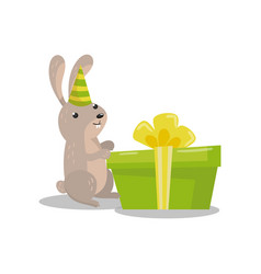 cute hare in party hat with big green gift box vector image