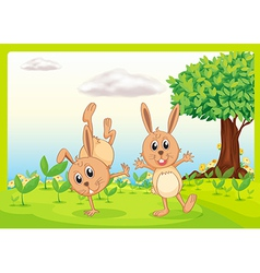 Dacing rabbits vector