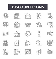 discount line icons signs set outline vector image