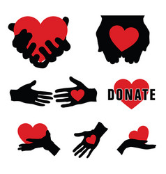 Donate with hands and heart on it vector