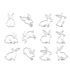 doodle black rabbit outline icons vector image