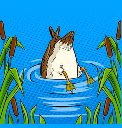 Duck dives into the pond pop art vector