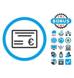 Euro Cheque Flat Icon with Bonus vector image
