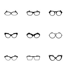 Eyeglasses icons set simple style vector