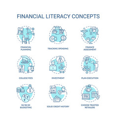 Financial literacy concept icons set vector