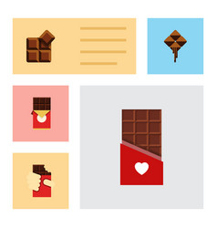 flat icon cacao set of shaped box delicious vector image