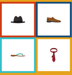 Flat icon clothes set of male footware cravat vector