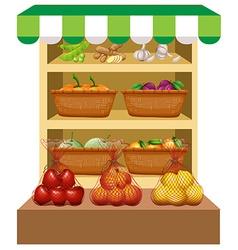 Fresh vegetables and fruits on shelves vector