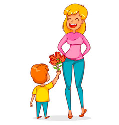 Funny boy gives a bouquet of tulips to his mother vector