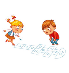 girl and boy play in hopscotch vector image
