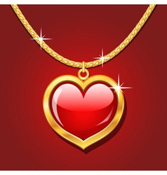 Golden necklace with ruby heart vector