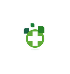 Green cross logo eco healing herbs pharmacy vector