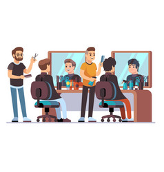 Hairdresser with client barbers doing male vector