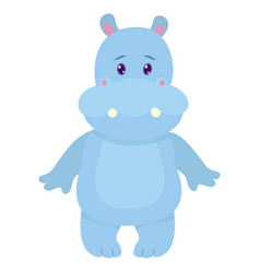 Hand drawn hippo natural colors vector