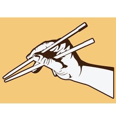 Hand holding chopsticks vector