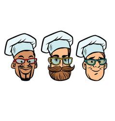 Head chefs multi-ethnic group vector