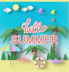 Hello summer paper seasonal elements vector