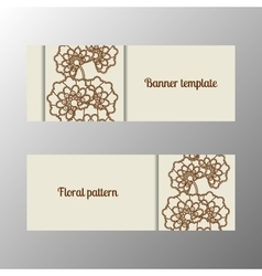 Horizontal banner template with flowers vector