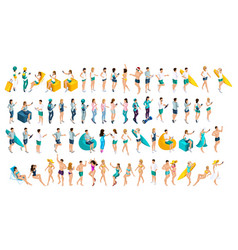 Isometrics is a large set of teenagers in summer vector