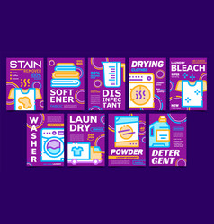 laundry service advertising posters set vector image