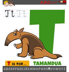 Letter t from alphabet with cartoon tamandua vector
