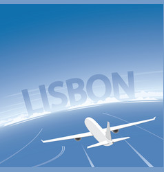 Lisbon skyline flight destination vector