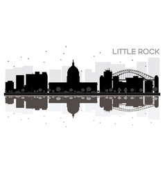 little rock city skyline black and white vector image